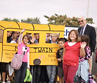 Walking School Bus in Riverside, California with Mayor Ron Loveridge Photo Credit: Gail Carlson