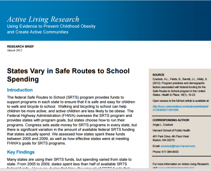 States Vary in Safe Routes to School Spending